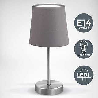 Stehlampe Wohnzimmer Stofflampenschirm grau Büro Beistell Beleuchtung Sockel E27