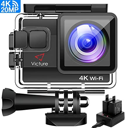Victure Action Cam 20MP Ultra HD 4K Wi-Fi Impermeabile 40M Immersione Sott'Acqua 170° Grandangolare Camera con Caricabatteria/Kit Accessori Due 1050mAh Batterie