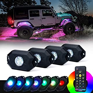 Xprite 4PCs LED RGB Rock Light Kit with Wireless Remote Control, Flashing, Auto Scroll Modes, Multicolor Neon Lights Pod for Underglow Off Road, Truck, JEEP, UTV, ATV, SUV