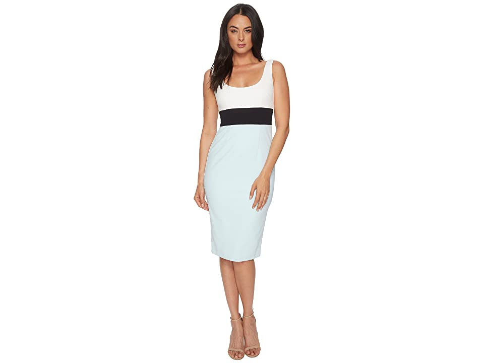 Donna Morgan Sleeveless Scoop Neck Stretch Crepe Bodycon Midi Dress (Ivory/Marine Navy/Clear Sky) Women