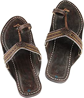 KALAPURI Womens Comfortable Cusioned Kolhapuri Chappal in Genuine Leather with Black Pointed Shape Base and Traditional Br...