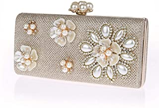 NSHUN Womens Glitter Floral Pearl Beaded Clutch Evening Bags for Women Formal Bridal Wedding Clutch Purse Prom Cocktail Party Handbags Bridal Purse (Color : Champagne)