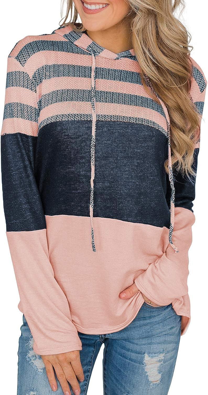 Ecrocoo Women's Casual Drawstring Hoodies Loose Sweatshirts Stripe Color Block Pullover