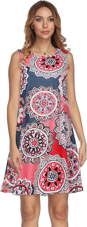 Demetory Women's Floral Print Sleeveless Scoop Neck Tunic Dress with Pocket