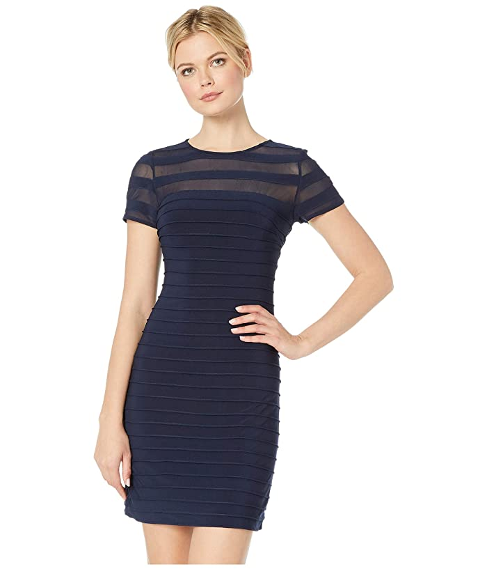 Adrianna Papell A-Line Banded Mini Dress (Blue Moon) Women