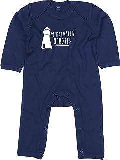 Kleckerliese Baby Strampler Schlafanzug Overall Sprüche Jungen Mädchen Motiv Heimathafen Ostsee Leuchtturm