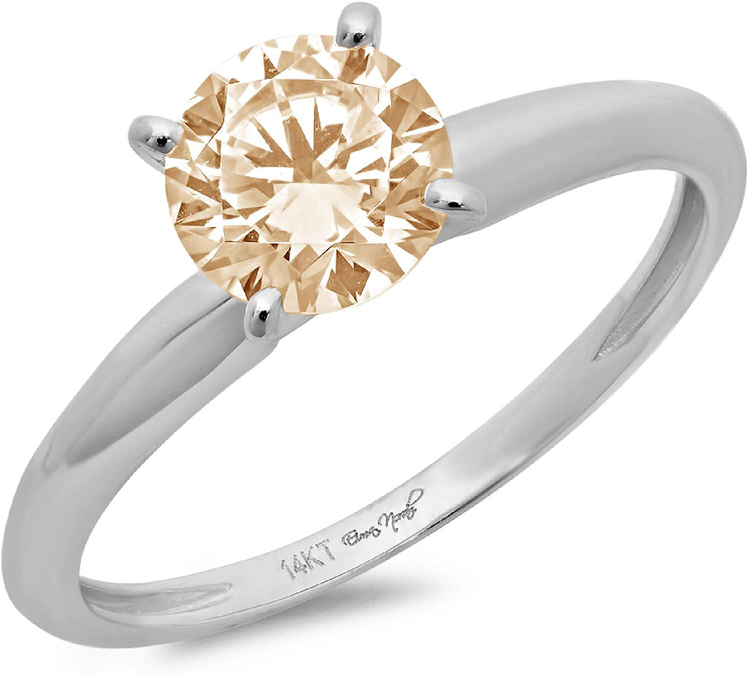 2.0 ct Brilliant Round Cut Solitaire Flawless Stunning Yellow Moissanite Ideal 4-Prong Engagement Wedding Bridal Promise Anniversary Designer Ring in Solid 18K White Gold for Women
