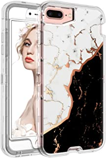 iPhone 8 Plus Case Marble,iPhone 7 Plus Case Black Marble White,iPhone 6S Plus Case for Girls iPhone 6 Plus Case for Men,Hard iPhone 8 Plus Case Clear with Design Case for Apple iPhone 8 7 6S 6 Plus