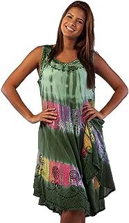 Soft Rayon Casual Hand Tie Dye Neck Ari Short Beach Dress Tunic Coverup