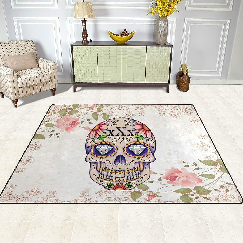 FAJRO Skull and Flower Rugs for entryway Doormat Area Rug Multipattern Door Mat shoes Scraper Home Dec Anti-Slip Indoor Outdoor