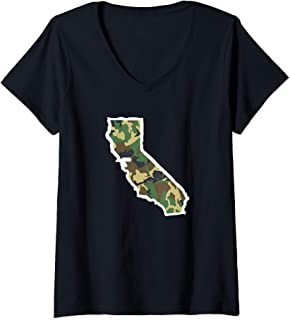 Womens California Camo Map Shirt, Hunting Gear, Camo Home Apparel V-Neck T-Shirt
