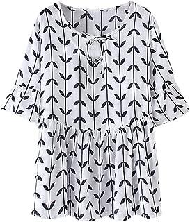 Women's Summer Print Ruffle Blouse Casual Loose V-Neck Tie Tops Shirt