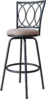 Roundhill Furniture Redico Adjustable Metal Barstool, Powder Coated Black