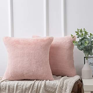Ashler Ultra Soft Throw Pillows Faux Rabbit Fur Pack of 2 Decorative Pillow Cushion Cover Pink 18 x 18 inches 45cm x 45cm