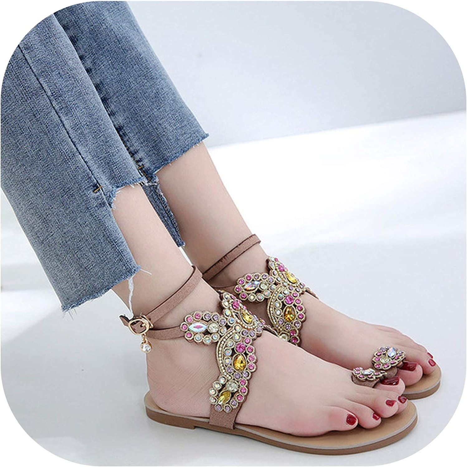 Alerghrg Buckle Bohemian Roman Style Seaside Beach Sandals Rhinestone Flat Sandals Black Beige F074