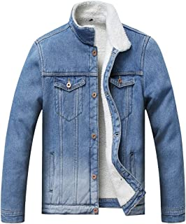 JYHER Men's Sherpa Lined Denim Jacket, Winter Fleece Jean Trucker Jacket