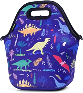 Neoprene Lunch Bag, Cute lunch bags for Women Kids Girls Men Teen Boys, Insulated Waterproof Lunch Tote Box for Work School Travel and Picnic (Navy Dinosaur)