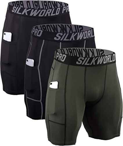SILKWORLD Men's Compression Shorts Pockets Sports Running Tight