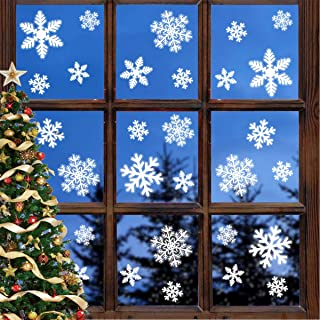 Leipple Christmas Snowflake Window Clings - White Christmas Window Stickers Decals Decorations for Family Office Restaurant Holiday Party - 5 Sheets(135pcs)