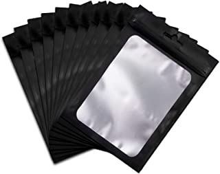 140 Pack Resealable Mylar Ziplock Bags Black Food Storage Bags with Clear Window (Black, 4 x 6 Inch)
