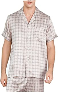 No-branded Sleepwear Silk Pajamas Men Suit Short-sleeved Two-piece Sleepwear Summer Spring Bottoms Solid Color XXYHYQHJD (...
