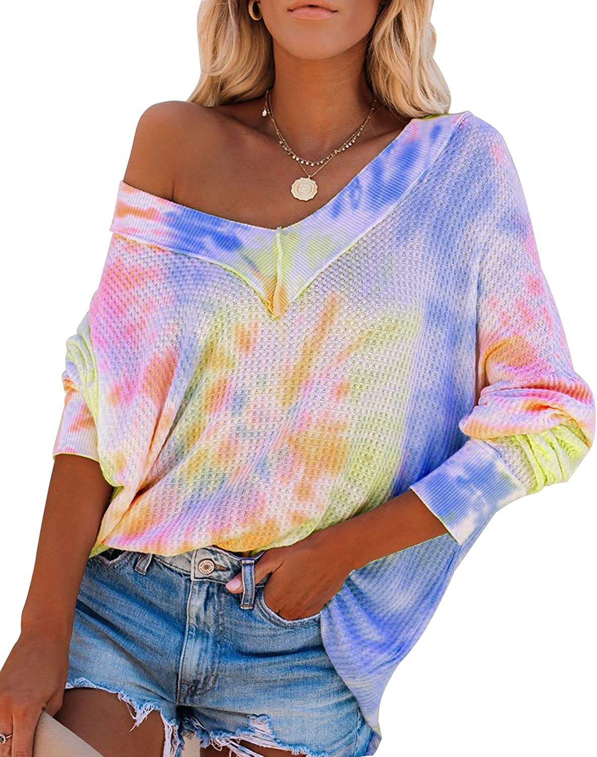 Nirovien Womens Tie Dye Off Shoulder Pullover Tops V Neck Batwing Sleeve Waffle Knit Sweater Tops