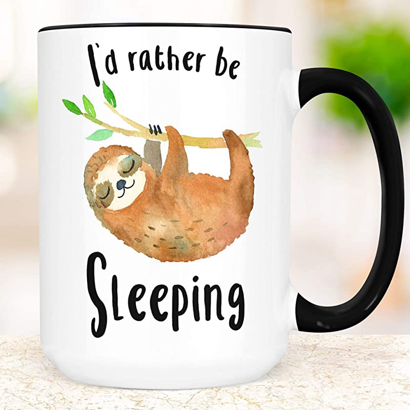 Sloth Funny Coffee Mug Dishwasher And Microwave Safe I D Rather Be Sleeping Funny Ceramic Cup
