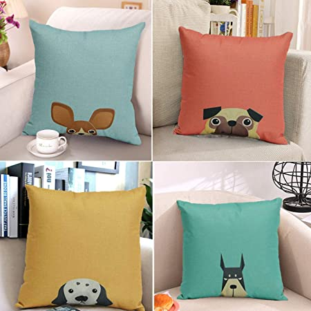 Unibedding Cartoon Animal Throw Pillow Covers Decorative Dog Pattern Kid Room Cushion Covers for Sofa Couch Patio Fall Christmas Home Decor, 4 Pack 18 x 18 Inch