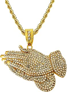 Mens Hip Hop Iced Out 14K Gold Artificial Diamond Praying Hands Pendant cz Tennis Chain Necklace 22 Inch
