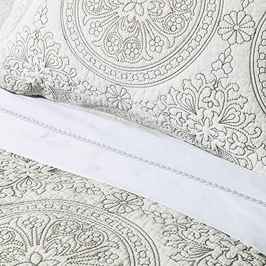 ELEGANT LIFE HOME 100% Cotton Medallion Embroidered King Pillow Sham 20'' x 36'', Ivory
