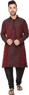 SKAVIJ Men's Tunic Art Silk Kurta Pajama Set Indian Party Wear