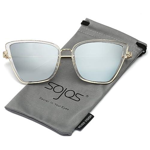 3fb912a87f SojoS Retro Fashion Cat Eye Women Sunglasses Metal Frame Mirrored Lenses  SJ1002
