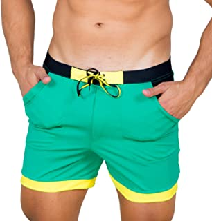 Taddlee Men Swimwear Solid Basic Long Swim Boxer Trunks Board Shorts Swimsuits, Green, Large