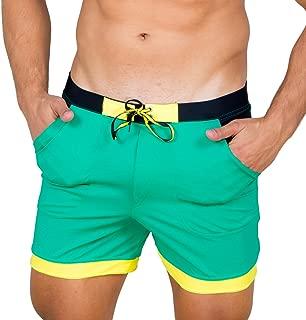 Men Swimwear Solid Basic Long Swim Boxer Trunks Board Shorts Swimsuits