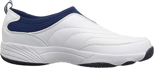 White/Navy Leather