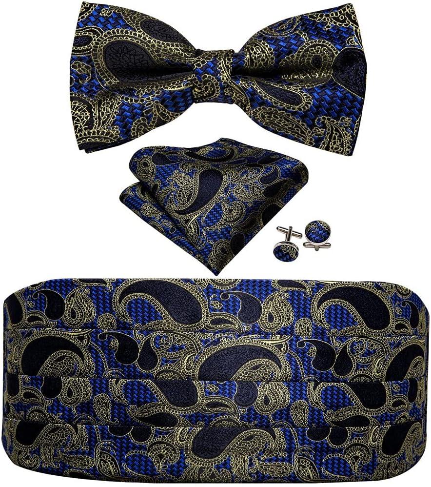 WODMB Blue Bow Tie for Men Cummerbund Handkerchief Cufflinks Waist Belt Wedding (Color : A, Size : One size)