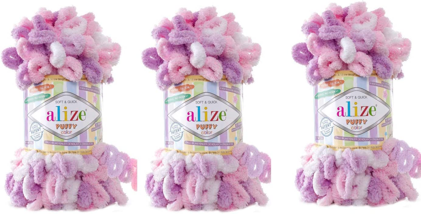 Max 74% OFF Alize Puffy Color Baby Blanket Yarn of Lot 3skn 300gr 100% 30yds All items in the store
