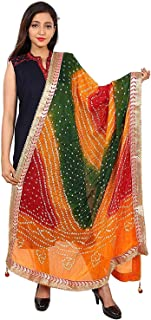 Kalpit Creations Jaipuri Rajasthani Women Silk Bandhani Bandhej Multi-Colored Heavy Dupatta with Gota Work and latkan