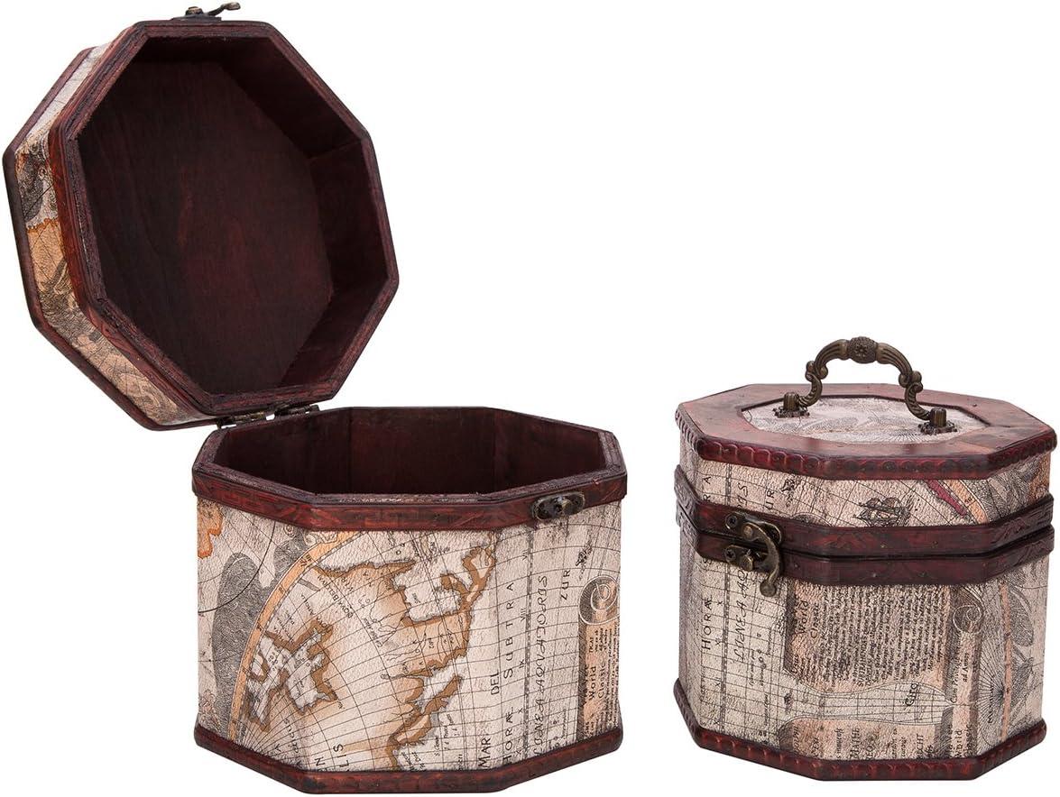 THY COLLECTIBLES Vintage Style World Map Pattern Wooden Octagon Jewelry Treasure Box Storage Organizer Trinket Keepsake Chest Set of 2