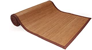 1x - BambooMN Brand Bamboo Slat Table Runner - Brown with Brown Border