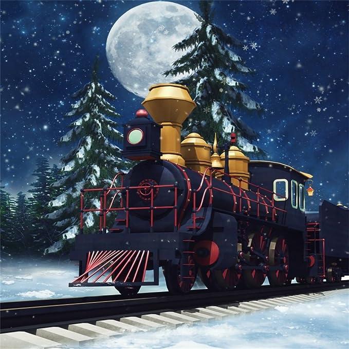 8x8FT Vinyl Wall Photography Backdrop,Train,Santas Steam ...