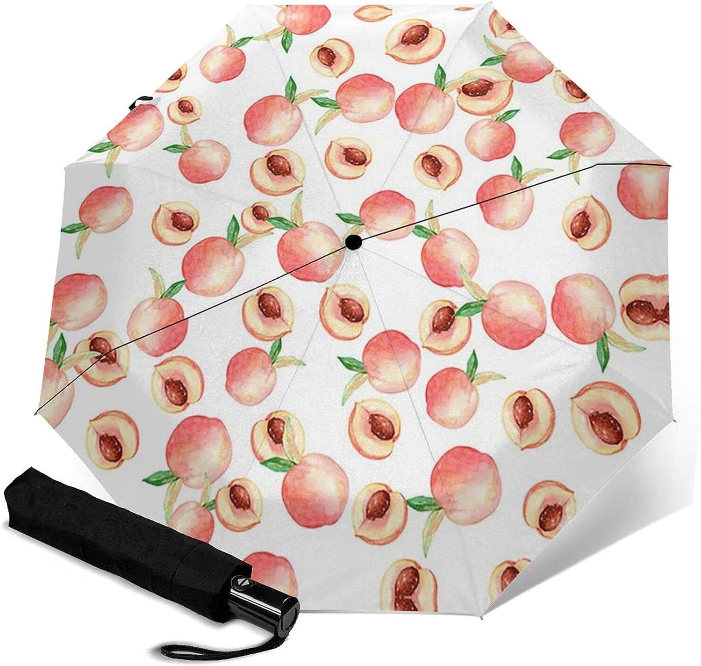 Watercolor Max 68% OFF Peach Philadelphia Mall Print Automatic Three-Folding Umbrella Waterpr