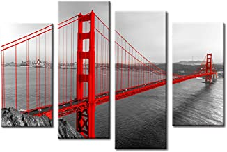 JiazuGo Red Wall Art Bedroom Decor Golden Gate Bridge San Francisco Skyline Building Poster Framed Canvas Prints Cityscape Painting Artwork for Office Home Kitchen Living Room Decoration