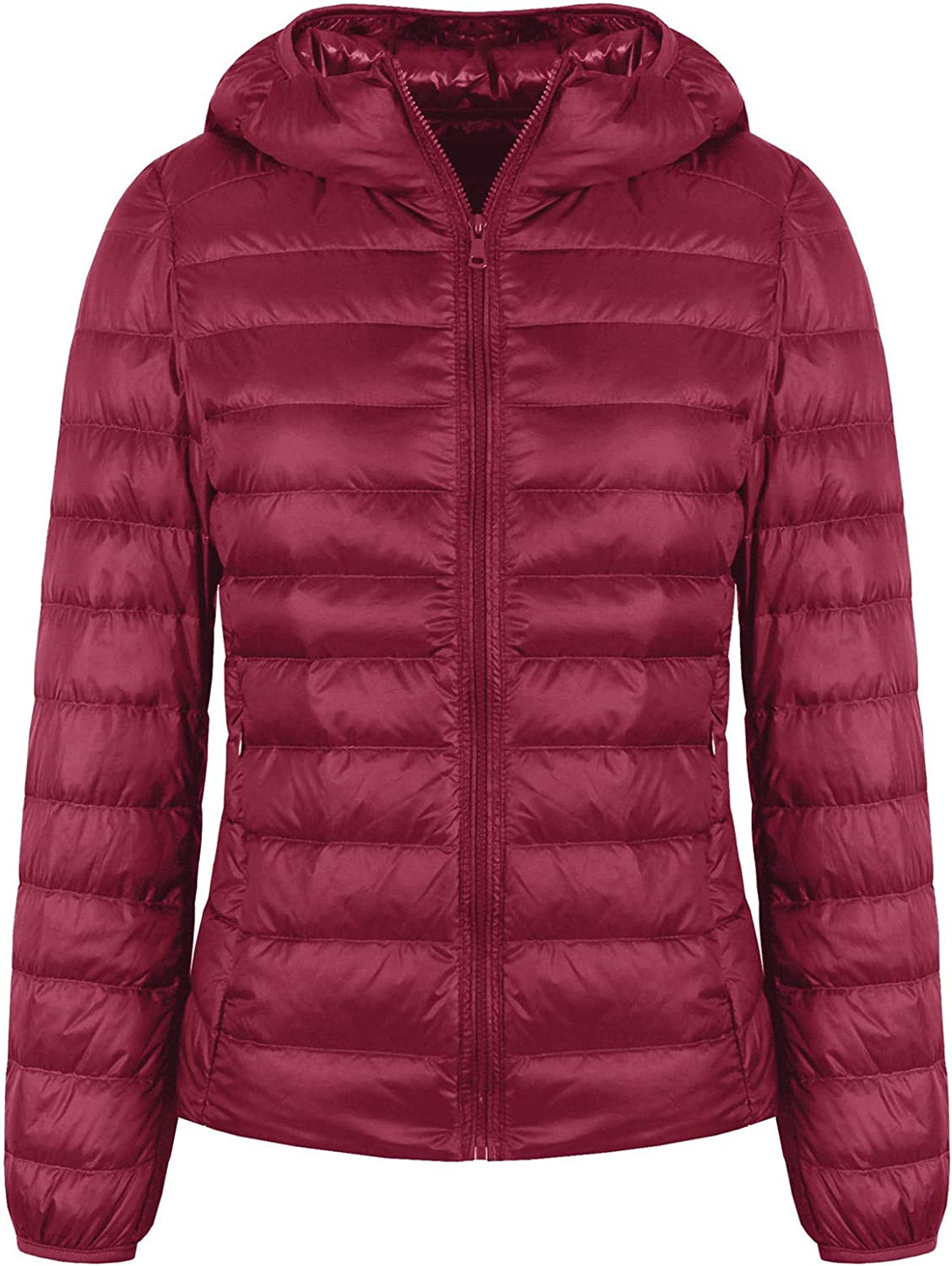 Valennia Women's Short Down Jacket Ultra Light Weight Packable Down Coat with Hood and 2 Pockets