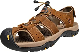 KEENPACEMen's Walking Sandals Beach Sandals Leather Closed Toe Summer Shoes For Trekking Hiking Outdoor Sports Gardening L...