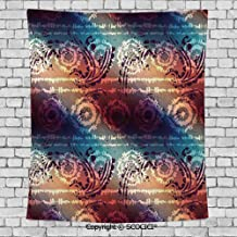 SCOCICI Fashionable Personality Tapestry Home Decoration Background Elastic Living Room,Batik Decor,Distressed Grungy Motif with Gradient Colors and Modern Round Forms Artwork,Multi