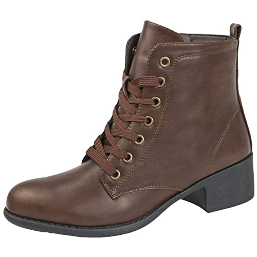 cde4805ad7a6 Lora Dora Womens Comfort Low Heel Classic Ankle Boots Faux Leather Zip Or  Lace Up Shoes