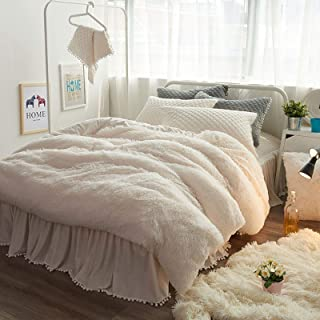 Joyreap Plush Shaggy 1PC Duvet Cover, King Size Luxury Faux Fur Velvet Fluffy Duvet Cover, Hidden Zipper n Tie Corners (Cream White, 104x90 inches)
