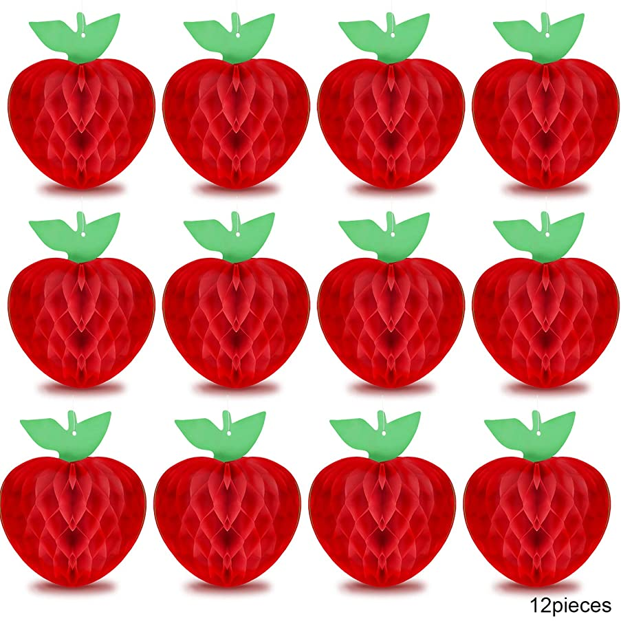 12 Pieces Honeycomb Tissue Paper Apple Decoration Apple Shaped Honeycombs Red Honeycomb Hanging Apple Accessory for Baby Shower Party, 10 Inches