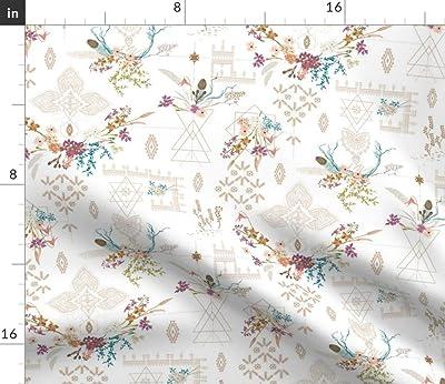 Bohemian Floral Boho Folk Wedding 100/% Cotton Sateen Sheet Set by Roostery